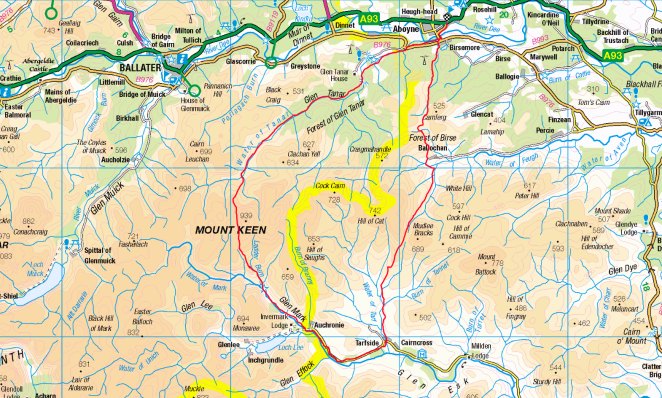 Mount Keen Map