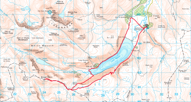 OS Map Loch Muick to Broad Cairn
