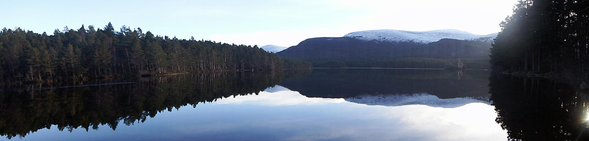 Loch An Eilien Cairngorms Winter Landscape Scotland Cross Country