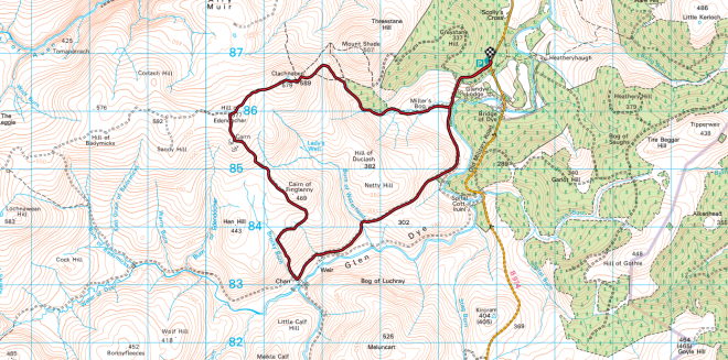 Clachnaben loop OS Map