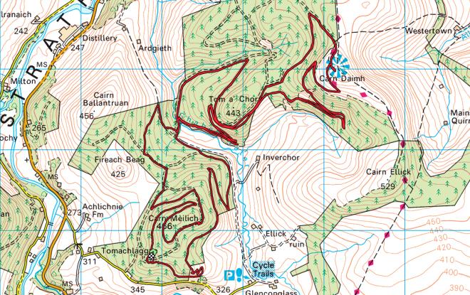 Glenlivet trail centre red tomintoul.png